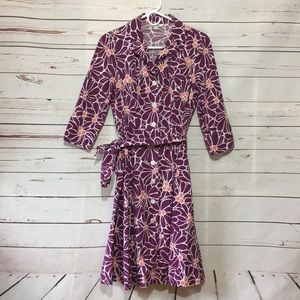 Boden long sleeve floral button down dress